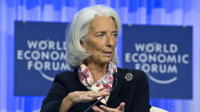 Head of the International Monetary Fund Christine Lagarde, gestures as she speaks during a session at the World Economic Forum in Davos, Switzerland, Saturday, Jan. 25, 2014. (AP Photo/Michel Euler)