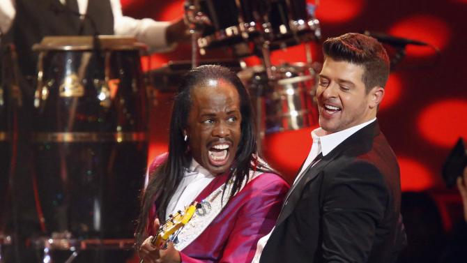 """Robin Thicke performs """"Blurred Lines"""" with White of Earth, Wind & Fire at The Grammy Nominations Concert Live - Countdown to Music's Biggest Night event, at Nokia theatre in Los Angeles"""