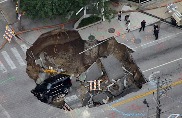 Powerful thunderstorms and widespread flooding caused this sinkhole to open up in Milwaukee, Wisconsin.