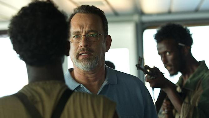 """This film image released by Sony - Columbia Pictures shows Tom Hanks, center, in """"Captain Phillips."""" Running Sept. 27 through Oct. 13, the 51st New York Film Festival will feature the world premieres of Paul Greengrass' """"Captain Phillips,"""" Spike Jonze's """"Her"""" and Ben Stiller's """"The Secret Life of Water Mitty."""" (AP Photo/Sony - Columbia Pictures)"""