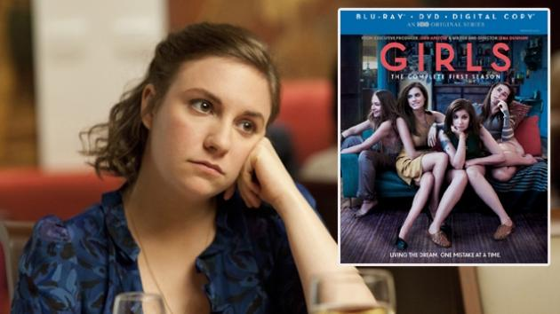 Lena Dunham (left); The cover for 'Girls: The Complete First Season' -- HBO