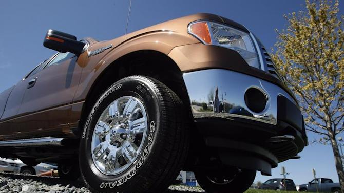 A Ford F-Series pickup truck is seen at Koons Ford in Silver Spring