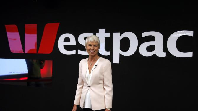 Westpac Banking Corp Chief Executive Officer Kelly smiles as she arrives for a media conference in Sydney