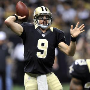 New Orleans Saints quarterback Drew Brees passes during the first half of an NFL preseason football game against the Houston Texans in New Orleans, Saturday, Aug. 25, 2012. The Saints won 34-27. (AP Photo/Bill Feig)