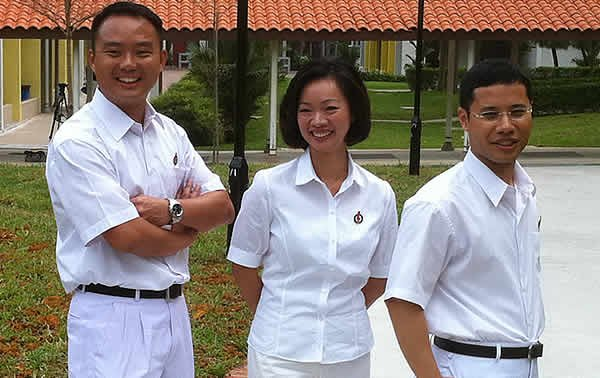 New PAP candidates, from left: Mr Steve Tan Peng Hoe, Ms Foo Mee Har, Mr Desmond Lee Ti-Seng. (Yahoo! photo: Ion Danker)