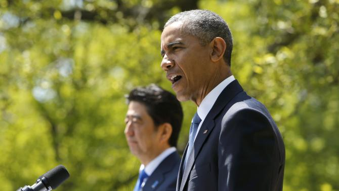U.S. President Barack Obama and Japanese Prime Minister Abe hold joint news conference at the White House in Washington