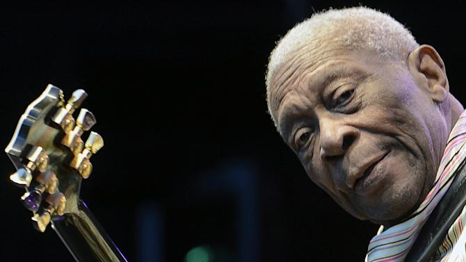 FILE - In this July 11, 2012 photo shows American blues legend B.B. King performing on stage at the Live at Sunset Festival in Zurich, Switzerland. King is returning to the grounds of the old Mississippi Delta cotton gin where as a teenager in the 1940s he worked as a tractor driver. On Wednesday, Aug. 22, the  86-year-old King will be back in the tiny farming town of Indianola, Miss., to headline his own homecoming celebration. It's a tradition King and the community have enjoyed almost every year for more than three decades. (AP Photo/Keystone/Walter Bieri, file)