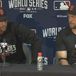 Raw Video: Bumgarner, Pence After Giants Win Game 1 Of World Series