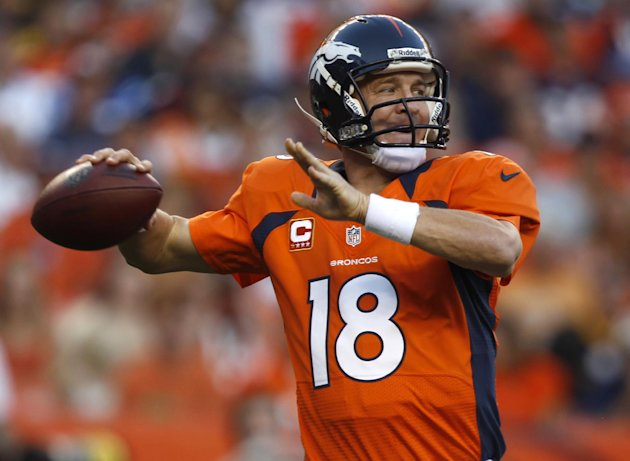 Denver Broncos quarterback Peyton Manning looks to pass against the Pittsburgh Steelers during the first quarter of an NFL football game, Sunday, Sept. 9, 2012, in Denver. The Broncos won 31-19. Manning got his first touchdown as a Bronco and the 400th of his career with a 71-yard pass to Demaryius Thomas during the third quarter. (AP Photo/David Zalubowski)