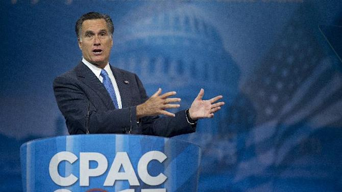 Former Massachusetts Gov. and 2012 Republican presidential candidate, Mitt Romney speaks at the 40th annual Conservative Political Action Conference in National Harbor, Md., Friday, March 15, 2013. (AP Photo/Manuel Balce Ceneta)