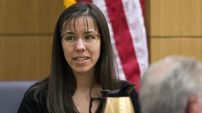 Jodi Arias testifies during her murder trial in Maricopa County Superior Court, Monday, Feb. 25, 2013, in Phoenix. Arias is on trial for murder in the death of Travis Alexander, who she says she killed in self-defense. (AP Photo/The Arizona Republic, Tom Tingle)