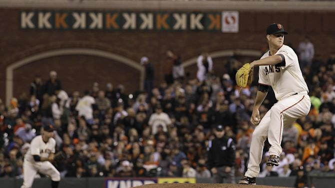 San Francisco Giants pitcher Matt Cain delivers against the Houston Astros during the seventh inning of a baseball game in San Francisco, Wednesday, June 13, 2012. (AP Photo/Jeff Chiu)
