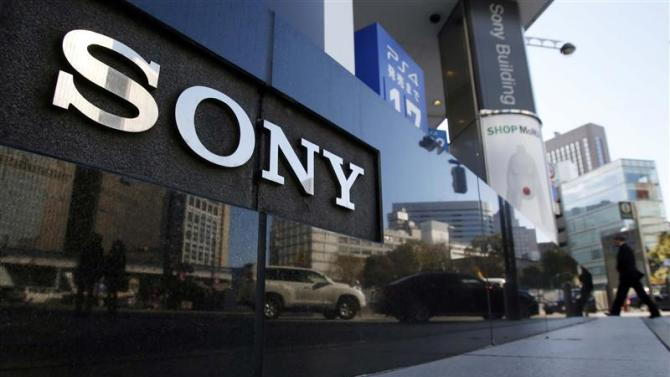 A logo of Sony Corp is seen outside its showroom in Tokyo