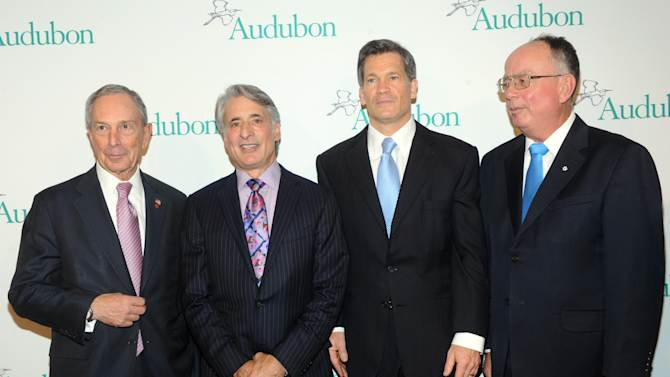 New York City Mayor Michael Bloomberg, David Yarnold, Louis Bacon and honoree George Archibald, l to r, attend The National Audubon Society's first gala to jointly award the Audubon Medal and the inaugural Dan W. Lufkin Prize for Environmental Leadership, Thursday, Jan. 17, 2013, in New York.  (Photo by Diane Bondareff/Invision for The National Audubon Society/AP Images)