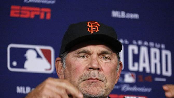 San Francisco Giants manager Bruce Bochy answers questions during a press conference at PNC Park in Pittsburgh Tuesday, Sept. 30, 2014. The Giants take on the Pittsburgh Pirates Wednesday night  in the National League Wild Card baseball game in Pittsburgh. (AP Photo/Gene J. Puskar)