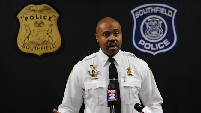 Southfield Police Chief Eric Hawkins holds a news conference Monday, Nov. 12, 2012, in Southfield, Mich., about Sunday's shooting inside the police offices, that wounded a 50-year-old officer and killed the gunman. The gunman was identified as Harold Joseph Collins, a veteran and resident of Southfield; the wounded officer was not identified.  (AP Photo/Detroit News, Brandy Baker)  DETROIT FREE PRESS OUT; HUFFINGTON POST OUT
