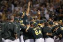 Oakland Athletics Players Celebrate After Earning A Wild Card Berth In Oakland