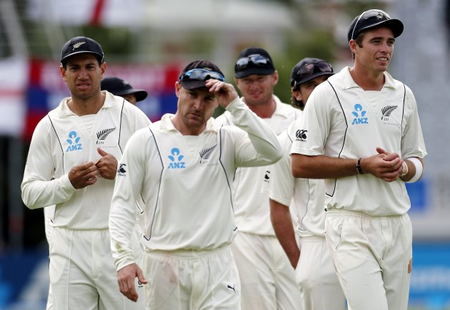 New Zealand's captain McCullum leads members of his team off the ground at the end of the first test against England at the University Oval in Dunedin
