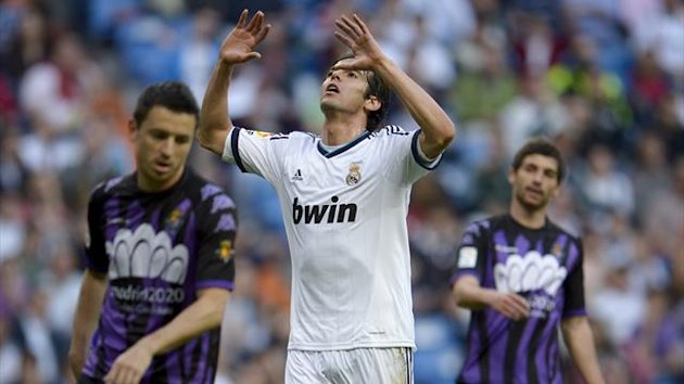 Real Madrid's Brazilian midfielder Kaka reacts during the Spanish league football match Real Madrid CF vs Valladolid at the Santiago Bernabeu stadium in Madrid on May 4 , 2013 (AFP)