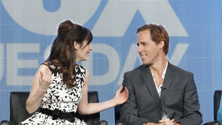 Zooey Deschanel and Nat Faxon attend the Fox Winter TCA Tour at the Langham Huntington Hotel on Tuesday, Jan. 8, 2013, in Pasadena, Calif. (Photo by Todd Williamson/Invision/AP)