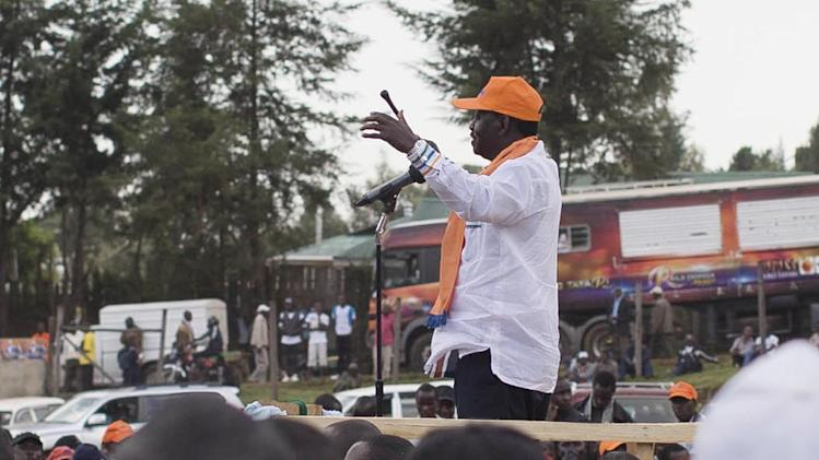 Kenyan Prime Minister and Presidential candidate, Raila Odinga address the crowd at a rally held in Kapkatet, Kenya, Friday, Feb. 22, 2013. Kenya will hold its national elections March 4, 2013. (AP Photo/Mackenzie Knowles-Coursin)
