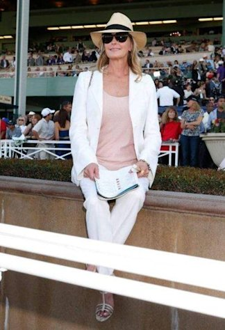 Bo Derek checks out the horses running in the Breeders' Cup World Championships at Santa Anita Park on November 3, 2012.
