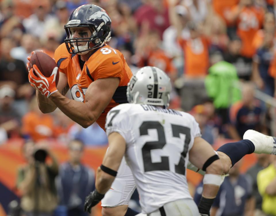 Denver Broncos tight end Joel Dreessen (81) catches a pass for a touchdown as Oakland Raiders free safety Matt Giordano (27) looks on during the 1st quarter of an NFL football game Sunday, Sept. 30, 2012, in Denver. (AP Photo/Joe Mahoney)