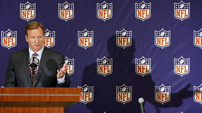 NFL football commissioner Roger Goodell speaks during a news conference at the Arizona Biltmore, Monday, March 18, 2013, in Phoenix. (AP Photo/Matt York)