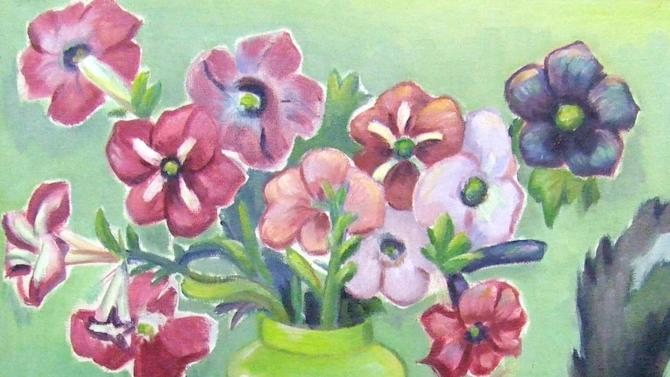 "This undated photo provided by The City of Tshwane on Monday, Nov. 12, 2012, shows a 1936 Maggie Laubser ""Cat and Petunias"" oil on canvas. Police in South Africa said Monday that  robbers posing as visitors to an art museum stole more than $2 million worth of art including  ""Cat and Petunias"" from an exhibit near the country's capital. (AP Photo/The City of Tshwane)"