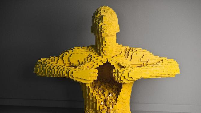 This undated image provided by brickartist.com shows a sculpture made from LEGO pieces by artist, Nathan Sawaya. Beginning February 9, 2013, the Kimball Art Center, in Park City, Utah, will host The Art of the Brick® , an exhibition featuring more than 30 large-scale sculptures created out of iconic LEGO® bricks by New York-based artist, Sawaya. (AP Photo/brickartist.com)