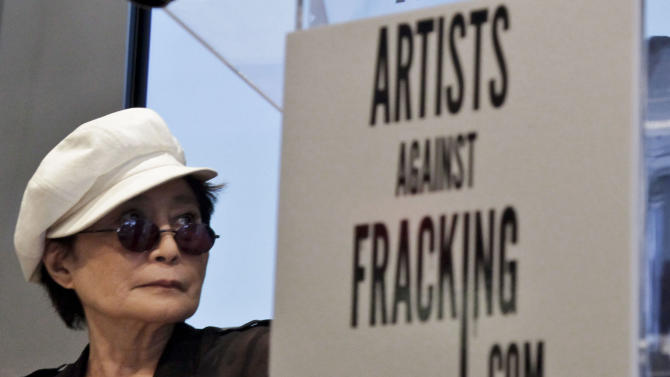 """Yoko Ono appears at a news conference to launch the coalition of artists opposing hydraulic fracturing on Wednesday, Aug. 29, 2012 in New York.  The formation of the group, called Artists Against Fracking, comes as New York Gov. Andrew Cuomo decides whether to allow shale gas drilling using high-volume hydraulic fracturing called hydrofracking. The group says such drilling is harmful and poses the threat of contamination. They say they want to spread awareness of the issue through """"peaceful democratic action.""""  Cuomo is expected to allow drilling to begin on a limited basis near the Pennsylvania border.  The group is comprised of 146 members including Lady Gaga, Paul McCartney and Alec Baldwin.  (AP Photo/Bebeto Matthews)"""