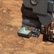 The first sample of powdered rock from Mars extracted by the NASA's Curiosity rover drill is pictured in this February 20, 2013 NASA handout photo. The image was taken after the sample was transferred from the drill to the rover's scoop. The scoop is 1.8 inches (4.5 centimeters) wide. The image has been white-balanced by NASA to show what the sample would look like if it were on Earth.  REUTERS/NASA/JPL-Caltech/MSSS/Handout   (UNITED STATES - Tags: SCIENCE TECHNOLOGY) THIS IMAGE HAS BEEN SUPPLIED BY A THIRD PARTY. IT IS DISTRIBUTED, EXACTLY AS RECEIVED BY REUTERS, AS A SERVICE TO CLIENTS. FOR EDITORIAL USE ONLY. NOT FOR SALE FOR MARKETING OR ADVERTISING CAMPAIGNS
