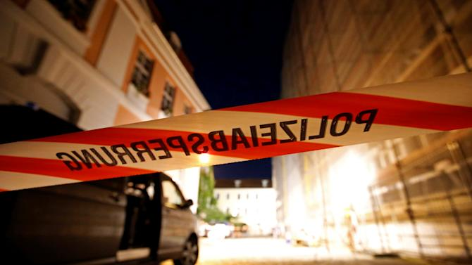An area is secured after an explosion in Ansbach, near Nuremberg