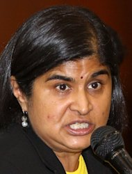 "Ambiga Sreenevasan, lawyer and co-chair of electoral reform group Bersih, pictured on April 4, 2012. Malaysia detained an Australian politician at Kuala Lumpur airport Saturday, branding him a ""prohibited immigrant"" ahead of his expected deportation, in a move Canberra described as ""disappointing"""
