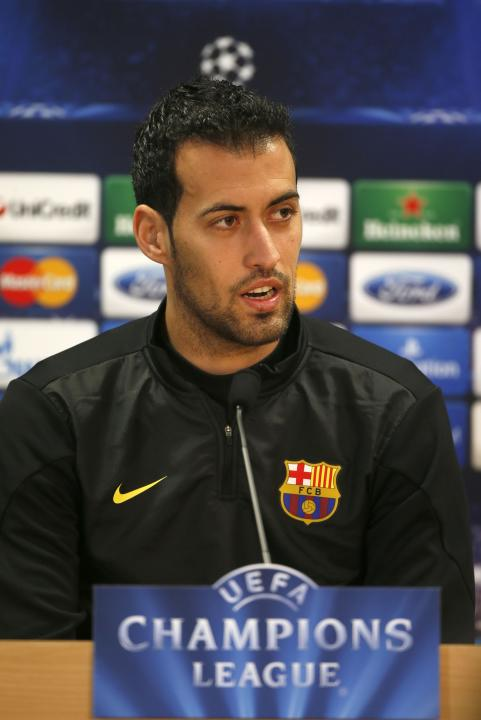 FC Barcelona's Sergio Busquest attends a news conference after a training session at Ciutat Esportiva Joan Gamper in Sant Joan Despi near Barcelona