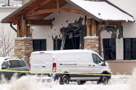A view of the damage to the entrance of the Planned Parenthood clinic in Colorado Springs