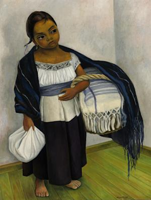 """This undated image released by Sotheby's New York shows Diego Rivera's 1939 oil on canvas painting """"Niña en Azul y Blanco,"""" (Retrato de Juanita Rosas a los Diez Años de Edad) that will be auctioned with other Latin American artworks on May 23-24 at Sotheby's in New York. (AP Photo/Sotheby's New York)"""