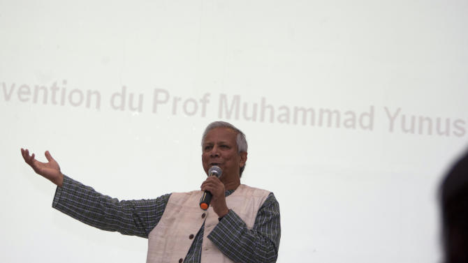 """Nobel peace laureate Mohammad Yunus speaks during a conference at the Montana Hotel in Port-au-Prince, Haiti, Saturday, Oct. 13, 2012. Yunus has announced that his pro-business development group is financing several endeavors through a mix of loans and equity. The projects that incorporate Yunus' development philosophy of """"social business"""" include two poultry farms, a plantation of jatropha plants to be used for biodiesel, a bakery and a tilapia fish farm. (AP Photo/Dieu Nalio Chery)"""