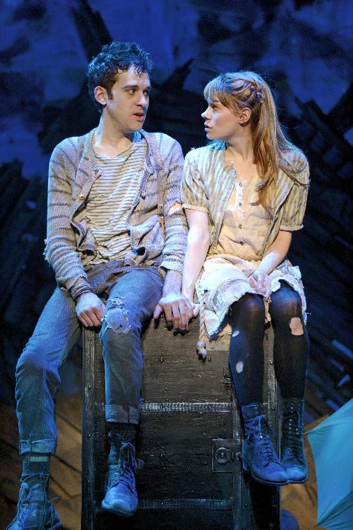 "In this theater image released by The O & M Co., Adam Chanler-Berat, left, and Celia Keenan-Bolger are shown in a scene from ""Peter and the Starcatcher,"" performing at the brooks Atkinson Theatre in New York. (AP Photo/The O & M Co.)"