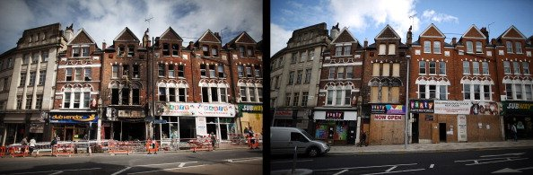 In this composite image (Left Photo) People walk past fire-damaged shops and flats in Clapham Junction on August 10, 2011 in London, England. (Right Photo) The boarded up buildings damaged by fire in 