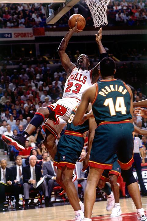 Michael Jordan and Sam Perkins