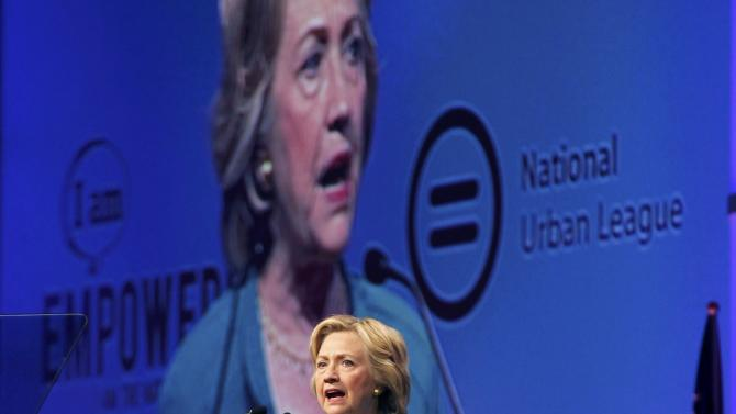 Democratic presidential candidate Hillary Clinton speaks at the National Urban League's conference in Fort Lauderdale