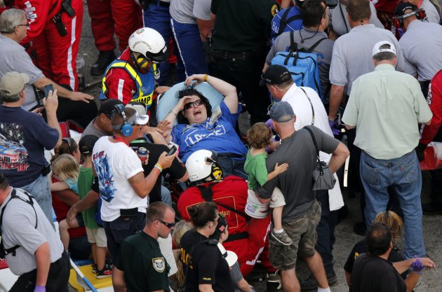File photo of rescue workers attend to the injured at the Daytona International Speedway in Daytona Beach