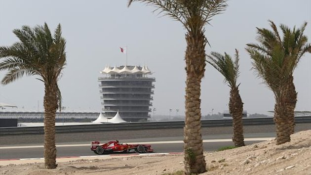 Ferrari driver Felipe Massa of Brazil steers his car during the second practice session of Bahrain Formula One Grand Prix at the Bahrain International Circuit in Sakhir, Bahrain, Friday, April 19, 2013
