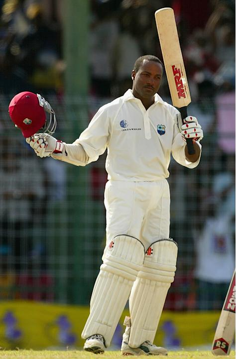 Brian Lara of the West Indies celebrates