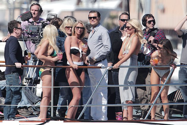 **EXCLUSIVE** Leonardo DiCaprio hooks up with rumored new girlfriend Australian actress Margo Robbie in re-shoots for the upcoming film &#39;Wolf of Wall Street&#39;