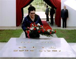 File photo of Jovanka Broz, the widow of late former Yugoslav President Josip Broz Tito, laying a wreath at his tomb in Belgrade