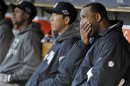 New York Yankees Starting Pitcher C.C. Sabathia Sits In The Dugout After Being Pulled In The Fourth Inning During Game 4 Of The MLB ALCS Baseball Playoff Series Against The Detroit Tigers In Detroit