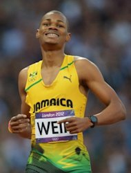 Jamaica's Warren Weir, pictured after competing in the men's 200m semi-finals at the athletics event of the London 2012 Olympic Games, on August 8. Weir qualified for the final, finishing his semi in 20.28sec
