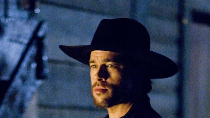 """FILE - This undated publicity photo released by Warner Bros., shows  Brad Pitt as Jesse James in a scene from """"The Assassination of Jesse James."""" The venerable Western rides again after falling out of favor in a film industry where horses, quick-draw gunfights and saloons with swinging doors seem like quaint relics. (AP Photo/Warner Bros. Pictures, Kimberly French, File)"""